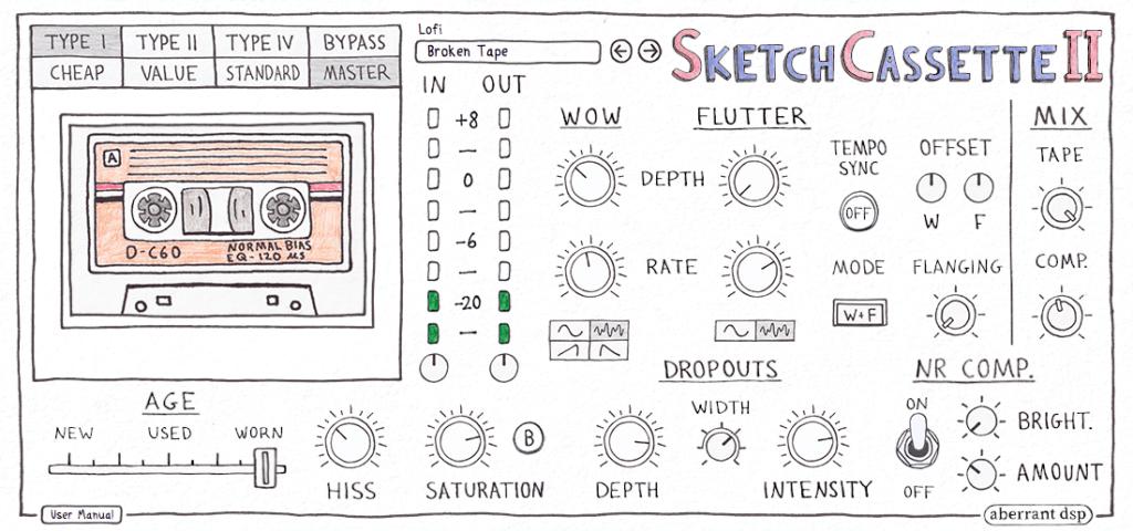 Aberrant DSP Sketch Cassette II GUI