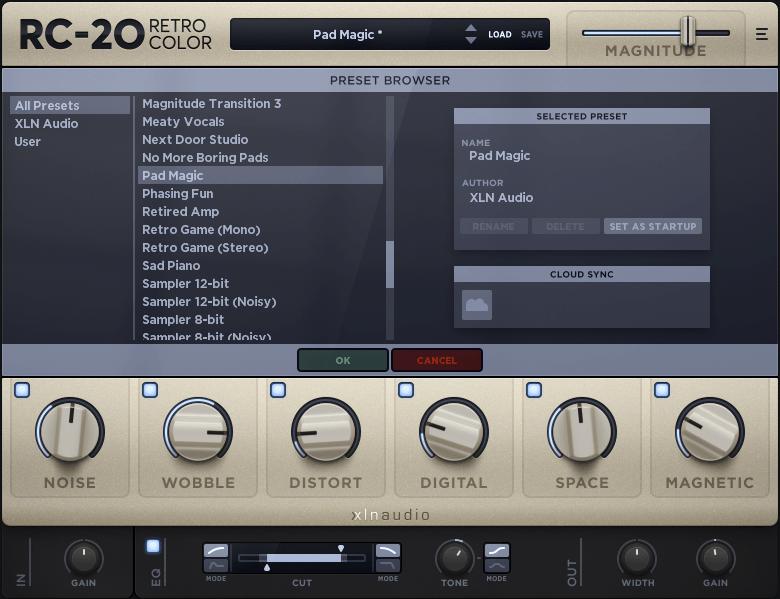XLN Audio RC-20 Retro Color Preset Browser