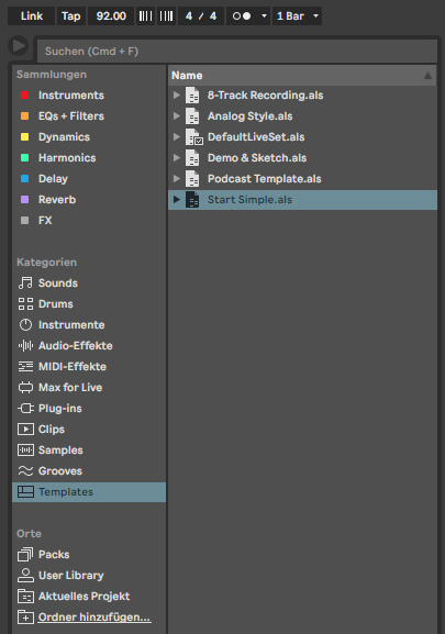 The Templates Folder In Ableton Live 11