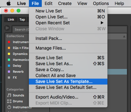 Saving Templates In Ableton Live 11