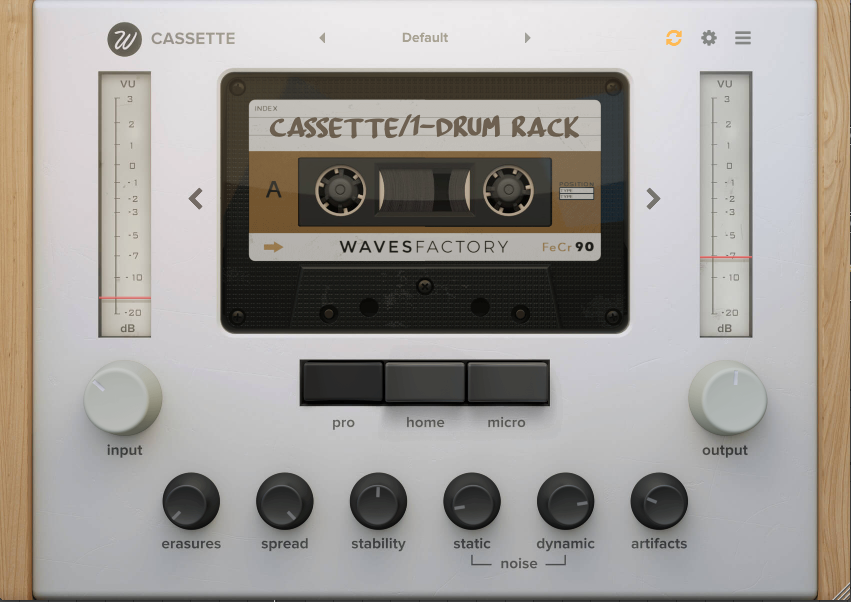 Wavesfactory Cassette Plugin Front Panel